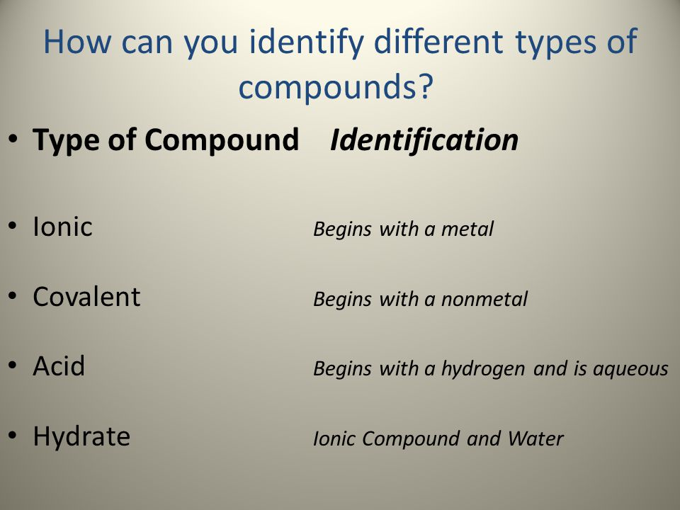 How can you identify different types of compounds