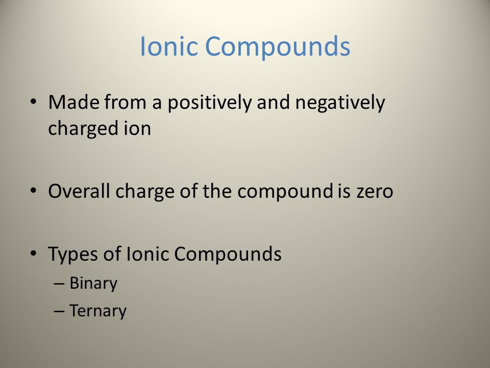 Ionic Compounds Made from a positively and negatively charged ion
