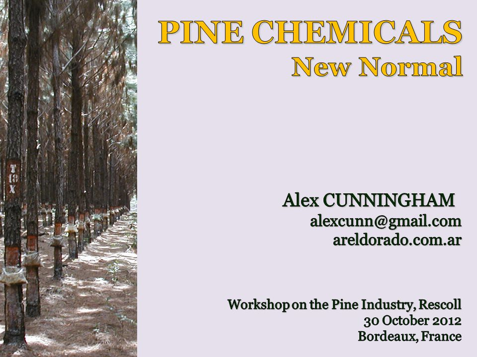 PINE CHEMICALS New Normal Alex CUNNINGHAM alexcunn@gmail.com