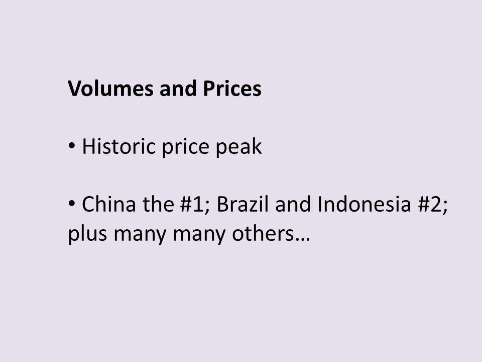 Volumes and Prices Historic price peak.