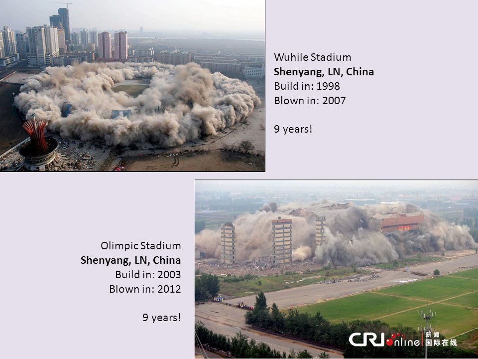 Wuhile Stadium Shenyang, LN, China. Build in: 1998. Blown in: 2007. 9 years! Olimpic Stadium. Shenyang, LN, China.