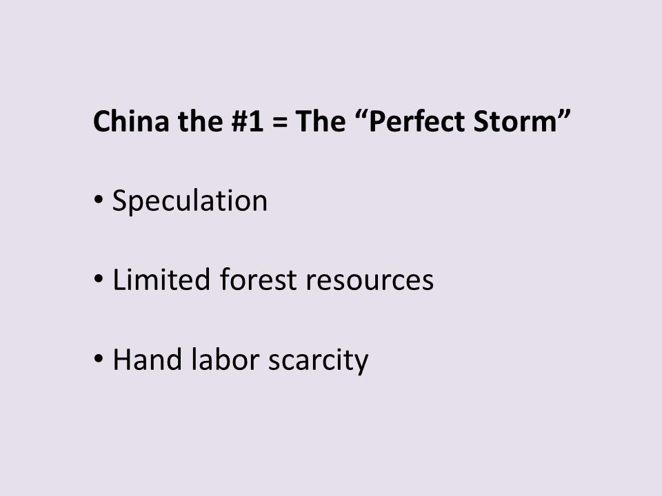 China the #1 = The Perfect Storm