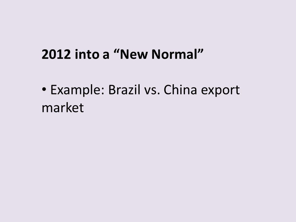 2012 into a New Normal Example: Brazil vs. China export market