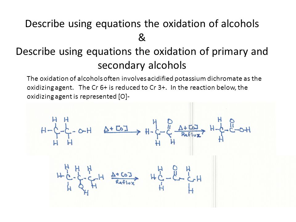 Describe using equations the oxidation of alcohols