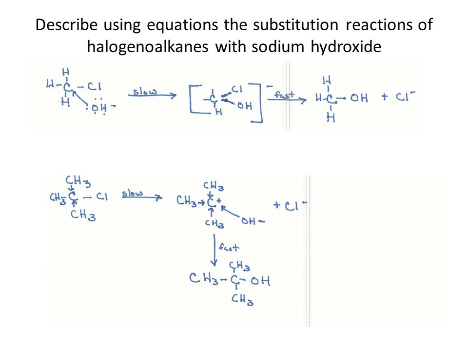 Describe using equations the substitution reactions of halogenoalkanes with sodium hydroxide