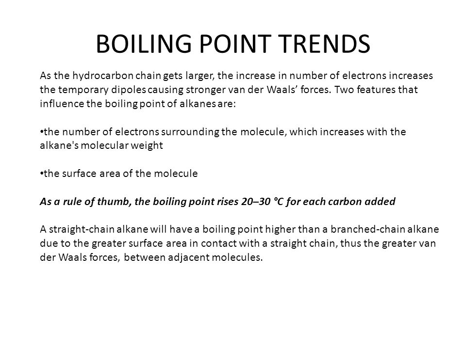 BOILING POINT TRENDS