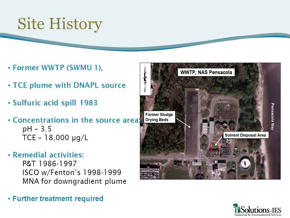 Site History Former WWTP (SWMU 1), TCE plume with DNAPL source