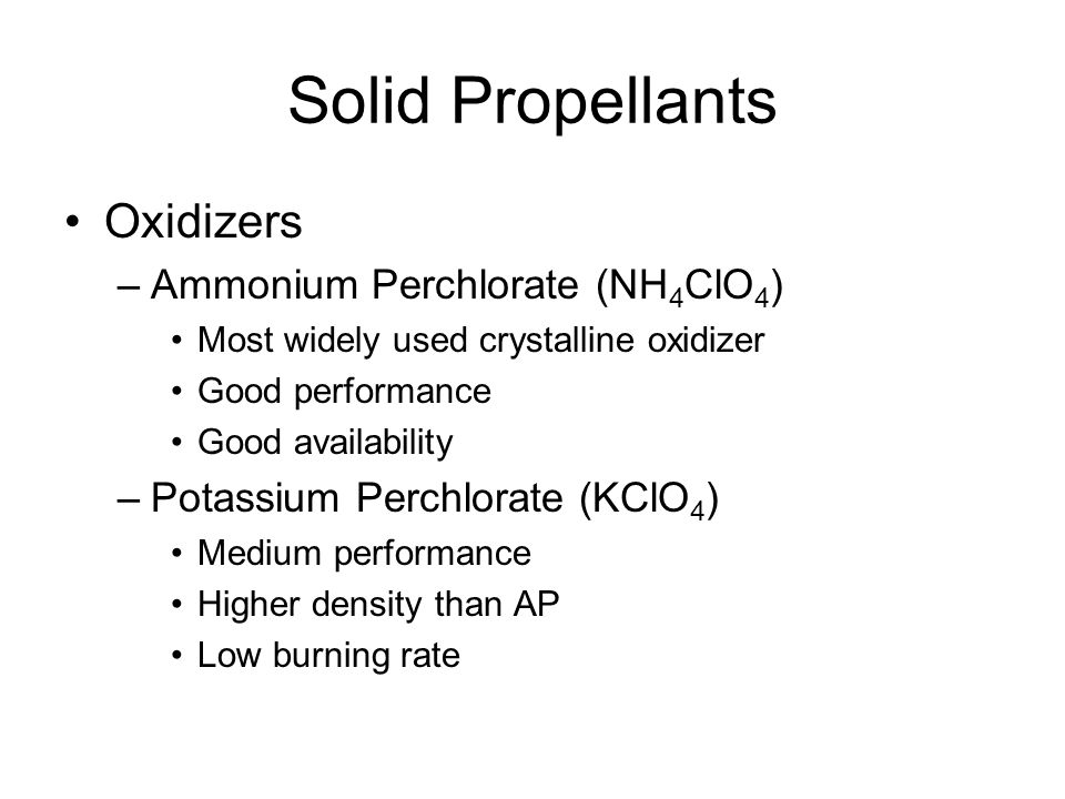 Solid Propellants Oxidizers Ammonium Perchlorate (NH4ClO4)