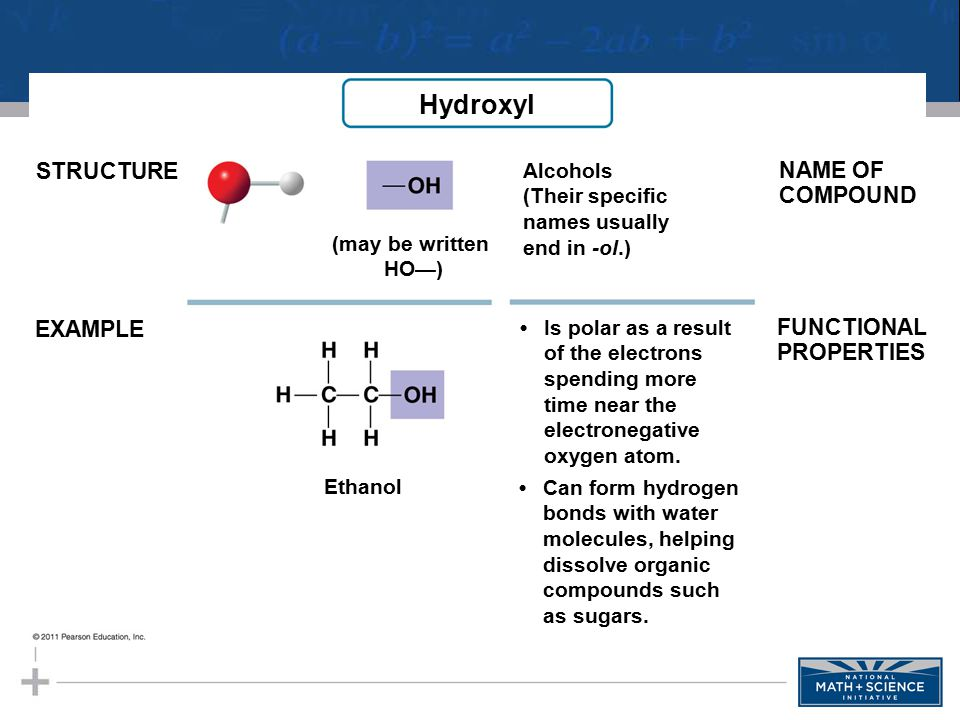 Hydroxyl STRUCTURE NAME OF COMPOUND EXAMPLE FUNCTIONAL PROPERTIES
