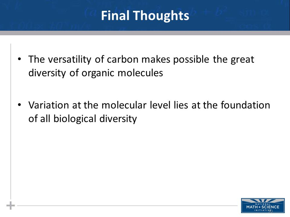 Final Thoughts The versatility of carbon makes possible the great diversity of organic molecules.