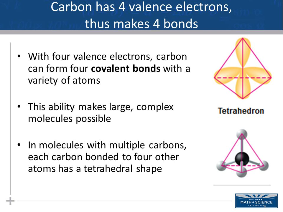 Carbon has 4 valence electrons, thus makes 4 bonds