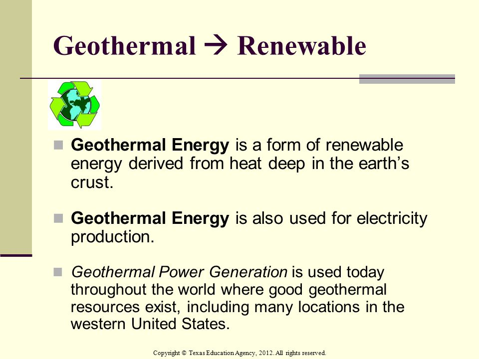 Geothermal  Renewable