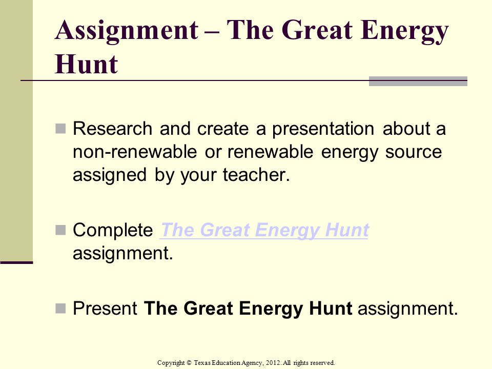 Assignment – The Great Energy Hunt