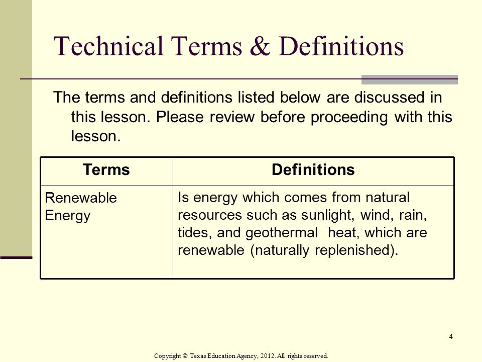 Technical Terms & Definitions