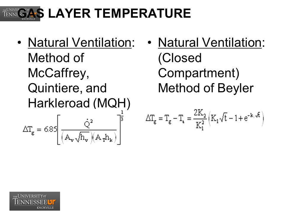 GAS LAYER TEMPERATURE Natural Ventilation: Method of McCaffrey, Quintiere, and Harkleroad (MQH)