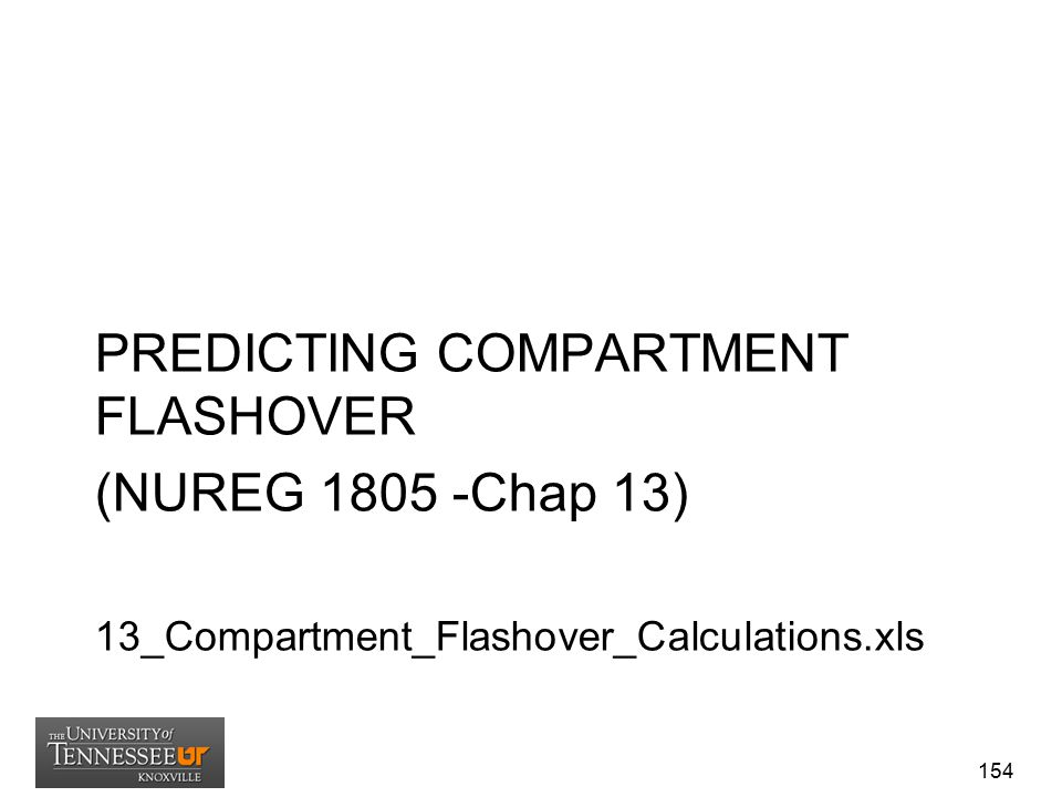 PREDICTING COMPARTMENT FLASHOVER (NUREG 1805 -Chap 13)