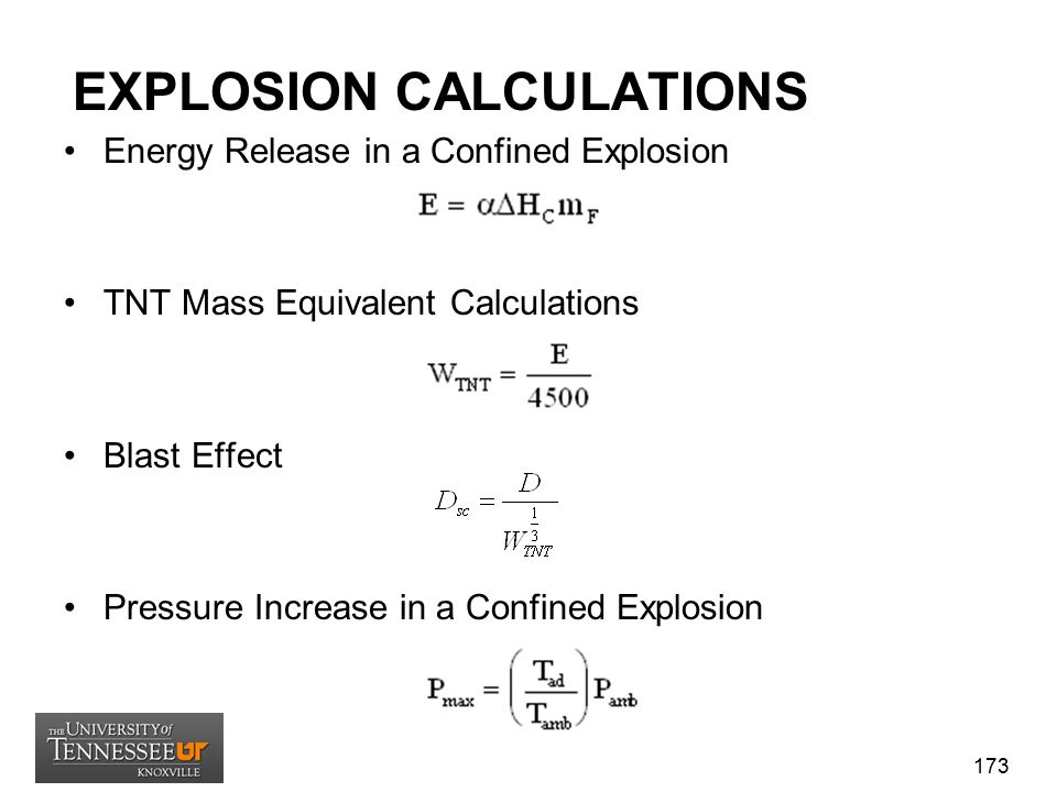 EXPLOSION CALCULATIONS