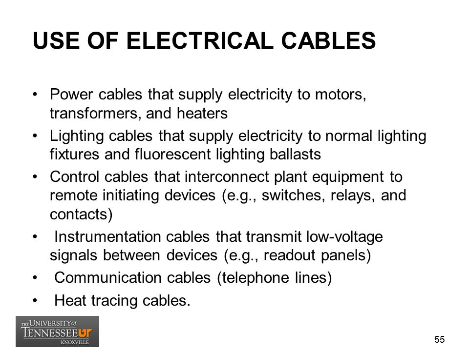 USE OF ELECTRICAL CABLES