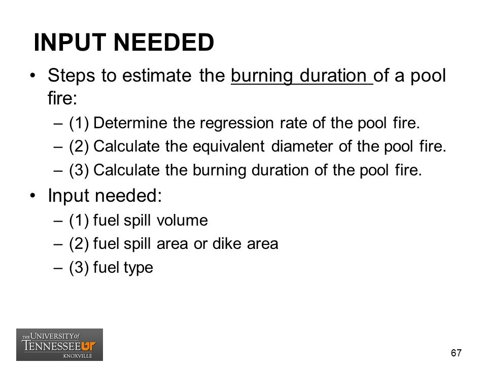 INPUT NEEDED Steps to estimate the burning duration of a pool fire: