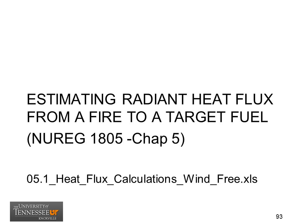 ESTIMATING RADIANT HEAT FLUX FROM A FIRE TO A TARGET FUEL