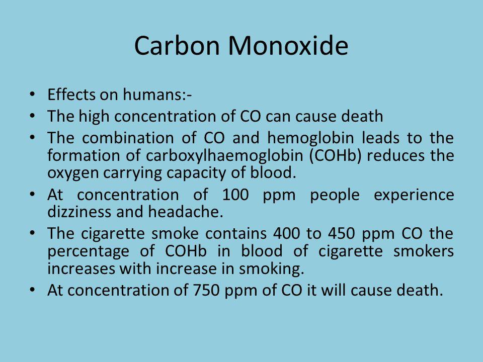Carbon Monoxide Effects on humans:-