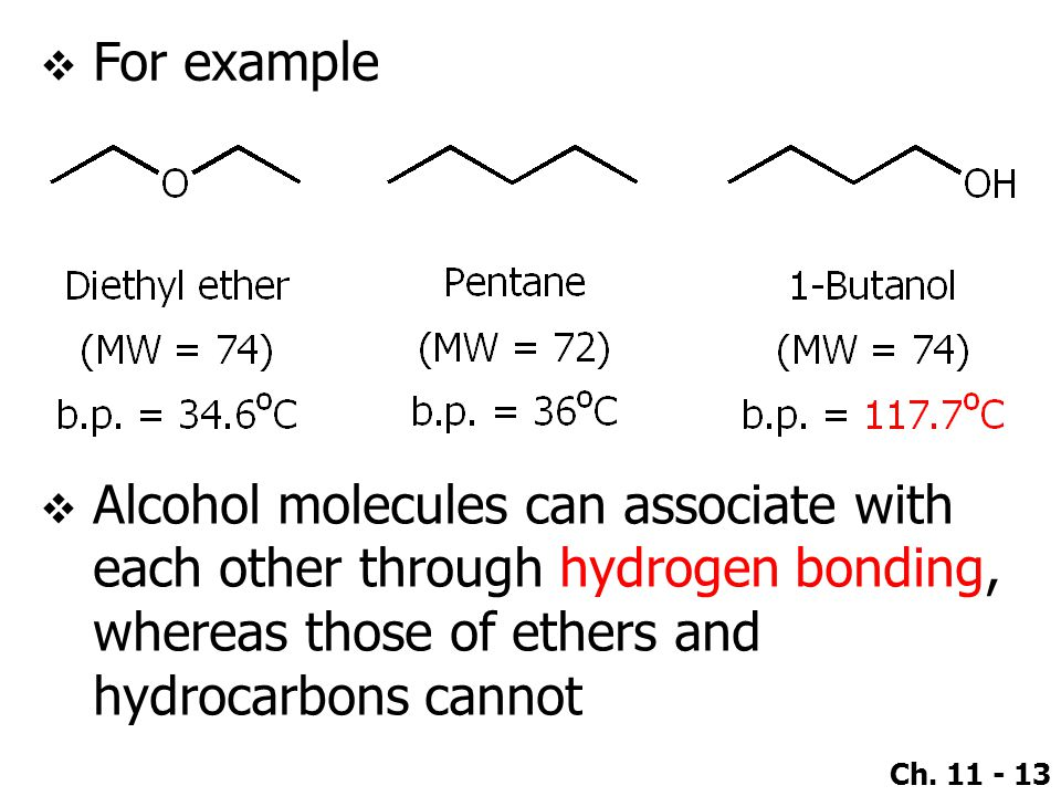 For example Alcohol molecules can associate with each other through hydrogen bonding, whereas those of ethers and hydrocarbons cannot.