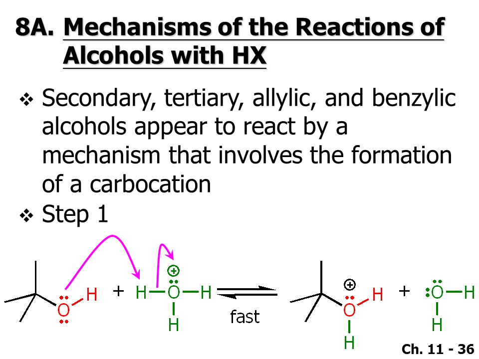 8A. Mechanisms of the Reactions of Alcohols with HX