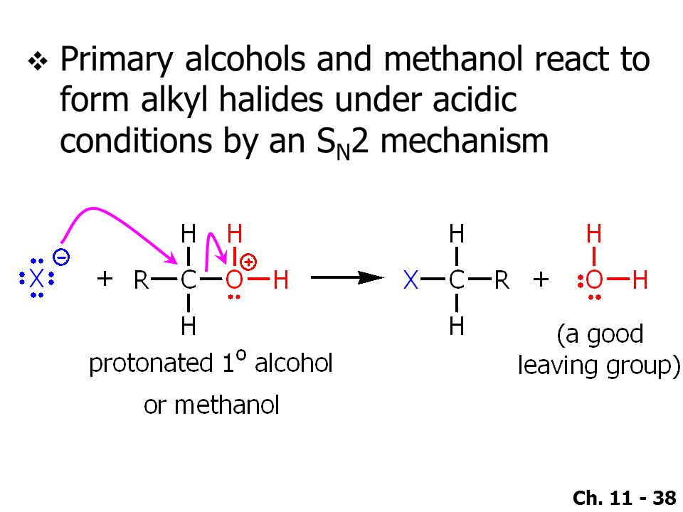 Primary alcohols and methanol react to form alkyl halides under acidic conditions by an SN2 mechanism
