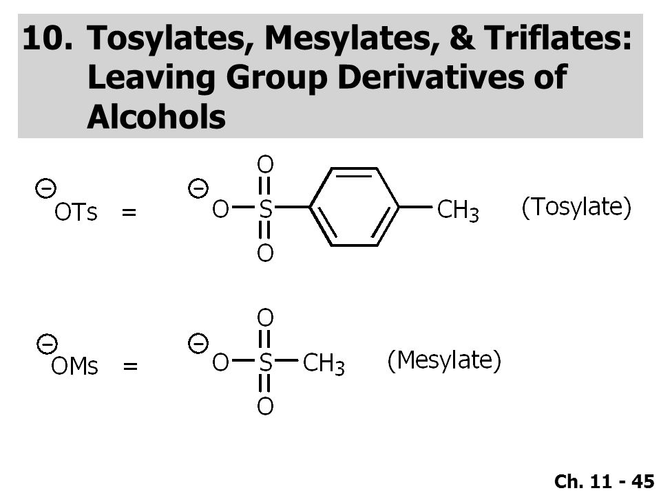 Tosylates, Mesylates, & Triflates: Leaving Group Derivatives of Alcohols