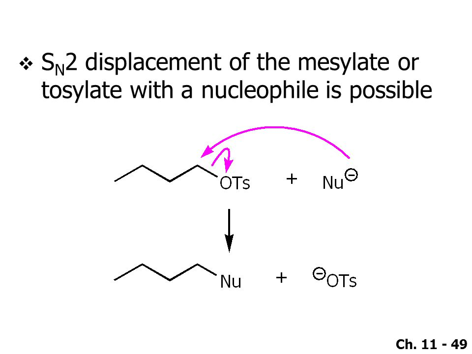 SN2 displacement of the mesylate or tosylate with a nucleophile is possible