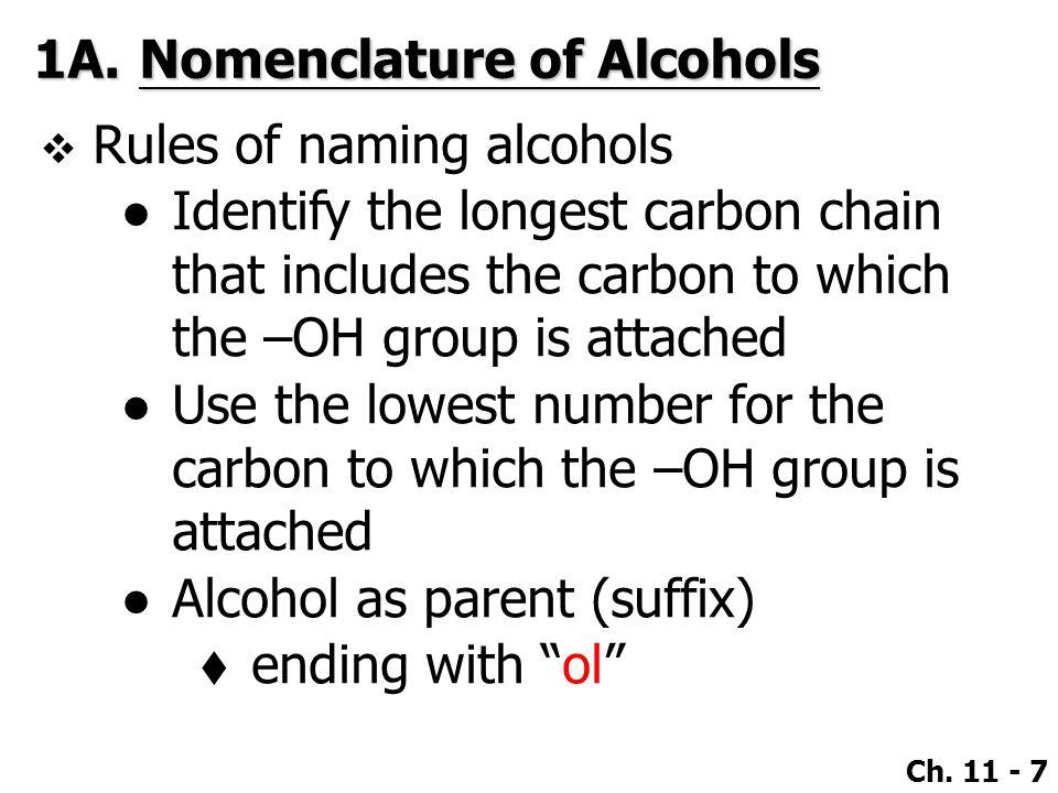 1A. Nomenclature of Alcohols