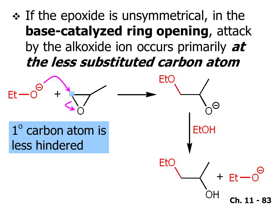 If the epoxide is unsymmetrical, in the base-catalyzed ring opening, attack by the alkoxide ion occurs primarily at the less substituted carbon atom