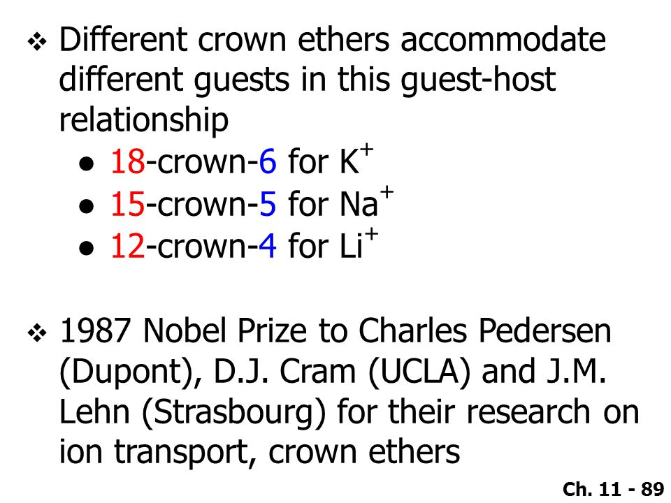 Different crown ethers accommodate different guests in this guest-host relationship