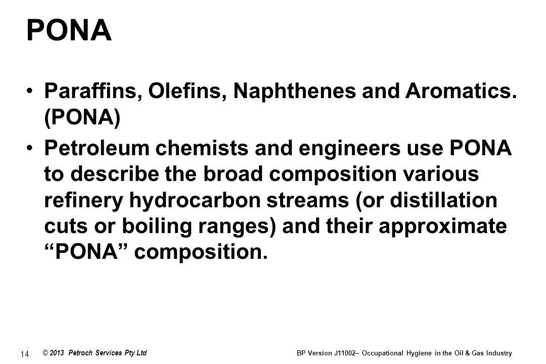 PONA Paraffins, Olefins, Naphthenes and Aromatics. (PONA)