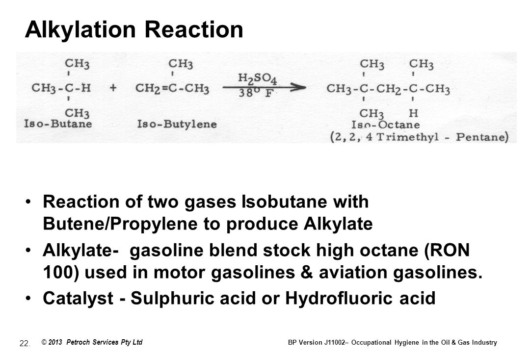 Alkylation Reaction Reaction of two gases Isobutane with Butene/Propylene to produce Alkylate.