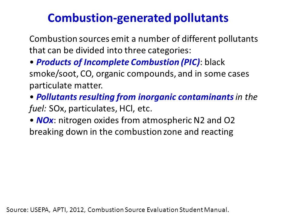 Combustion-generated pollutants