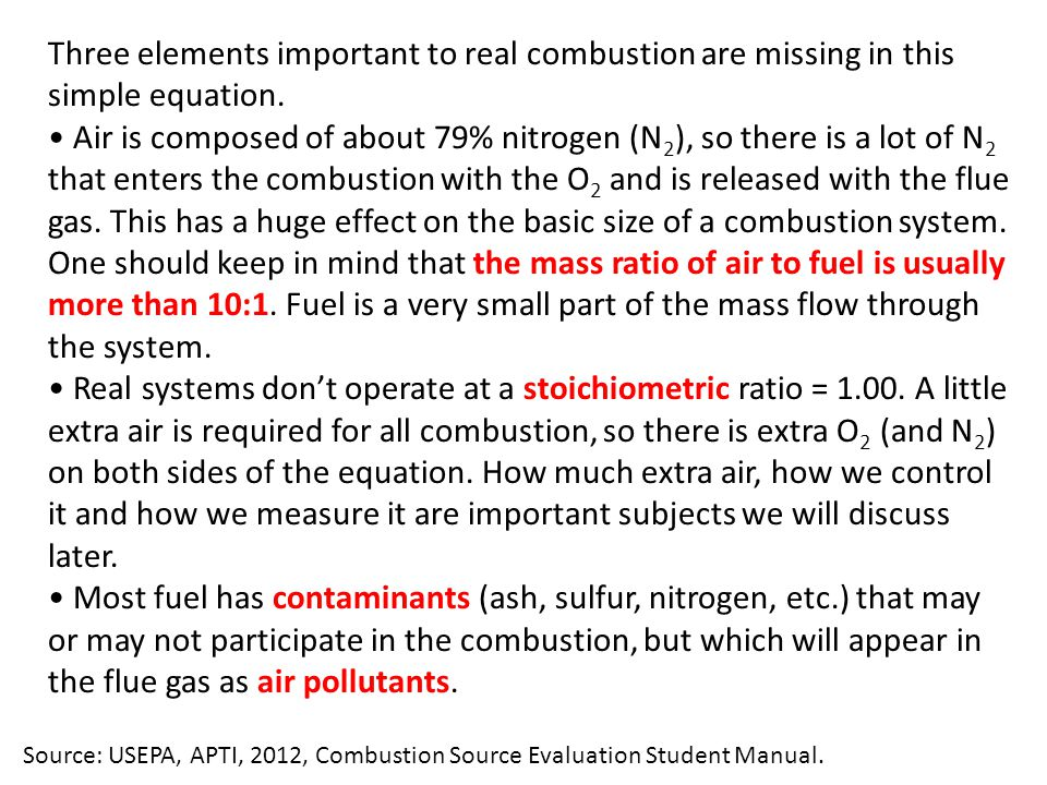 Three elements important to real combustion are missing in this simple equation.