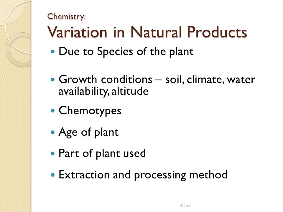 Chemistry: Variation in Natural Products