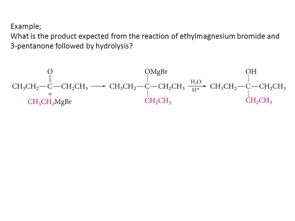 Example; What is the product expected from the reaction of ethylmagnesium bromide and 3-pentanone followed by hydrolysis