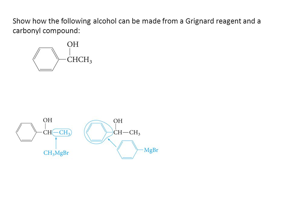 Show how the following alcohol can be made from a Grignard reagent and a carbonyl compound: