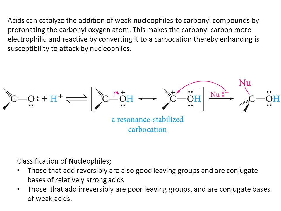 Acids can catalyze the addition of weak nucleophiles to carbonyl compounds by protonating the carbonyl oxygen atom. This makes the carbonyl carbon more electrophilic and reactive by converting it to a carbocation thereby enhancing is susceptibility to attack by nucleophiles.