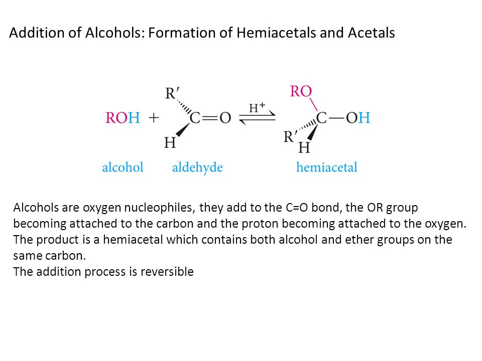 Addition of Alcohols: Formation of Hemiacetals and Acetals