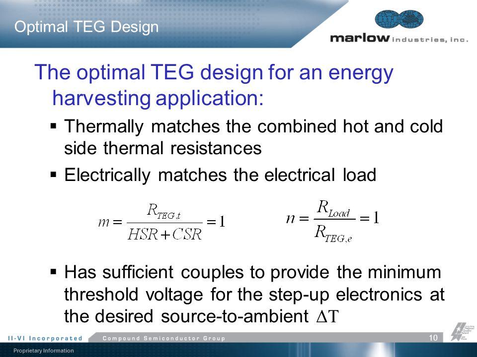 The optimal TEG design for an energy harvesting application: