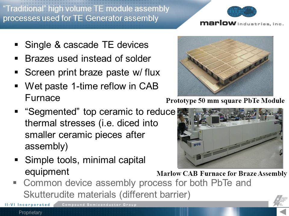 Prototype 50 mm square PbTe Module