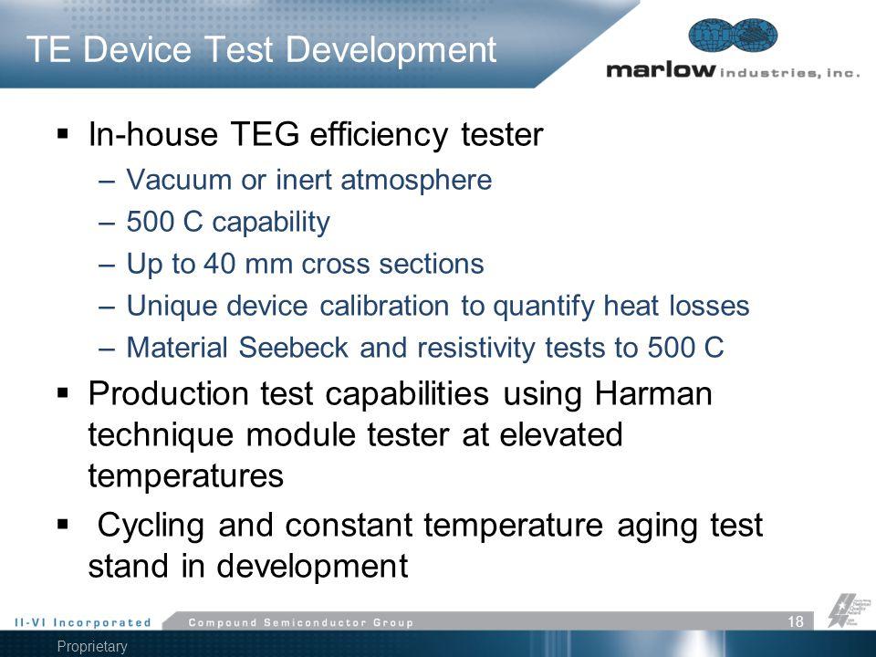 TE Device Test Development