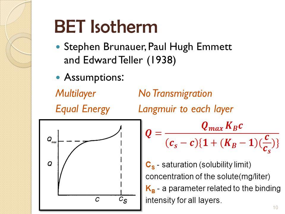 BET Isotherm Stephen Brunauer, Paul Hugh Emmett and Edward Teller (1938) Assumptions: Multilayer No Transmigration.