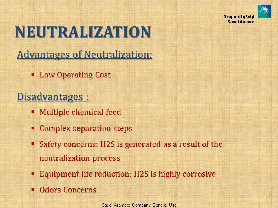 NEUTRALIZATION Advantages of Neutralization: Disadvantages :