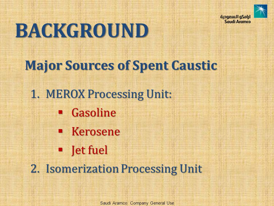 Major Sources of Spent Caustic
