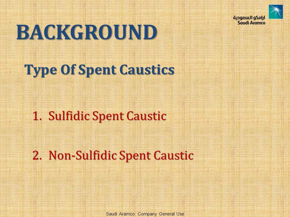 BACKGROUND Type Of Spent Caustics Sulfidic Spent Caustic