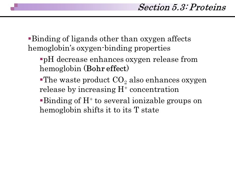 Section 5.3: Proteins Binding of ligands other than oxygen affects hemoglobin's oxygen-binding properties.